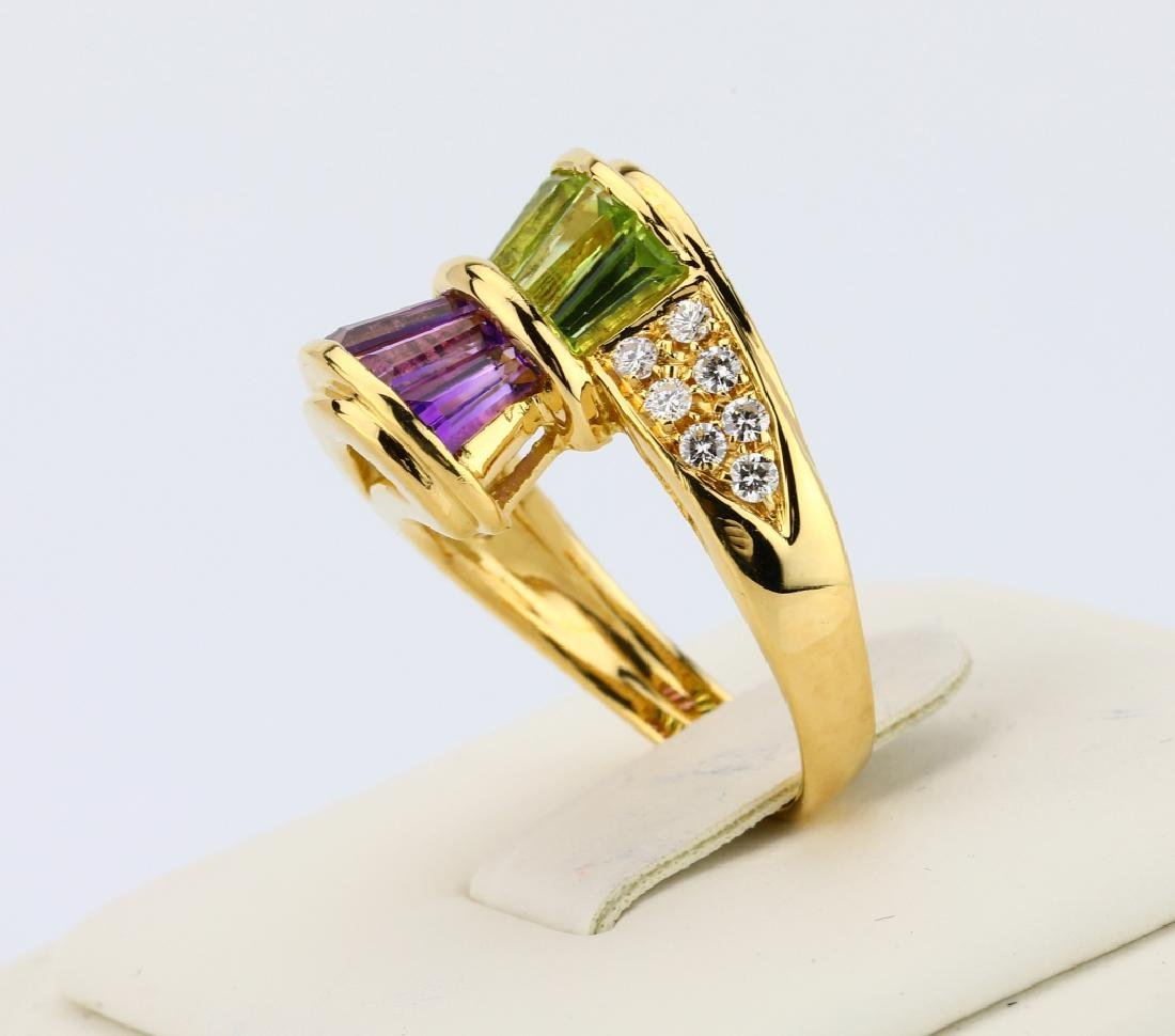 3.00ctw Peridot & Amethyst 18K Ring W/Diamonds - 7