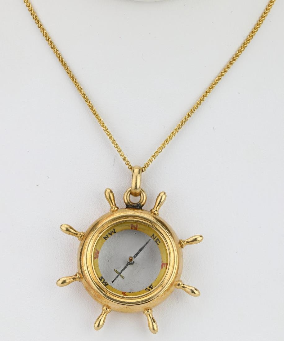 "14K 1.5"" Ship Helm Compass Pendant on 18"" Chain"