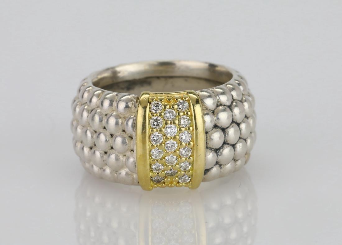 Lagos Caviar 18K & Sterling Ring W/Diamonds