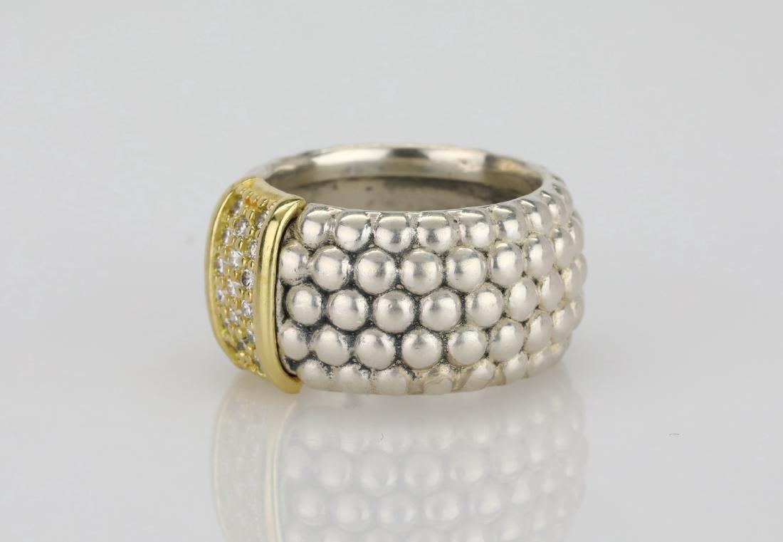 Lagos Caviar 18K & Sterling Ring W/Diamonds - 2
