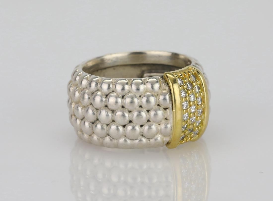 Lagos Caviar 18K & Sterling Ring W/Diamonds - 3