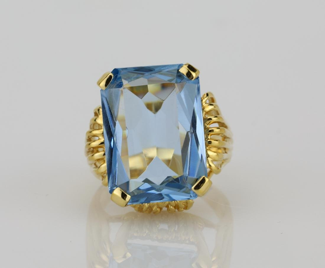 12.00ct Near Flawless Blue Topaz & 14K Ring