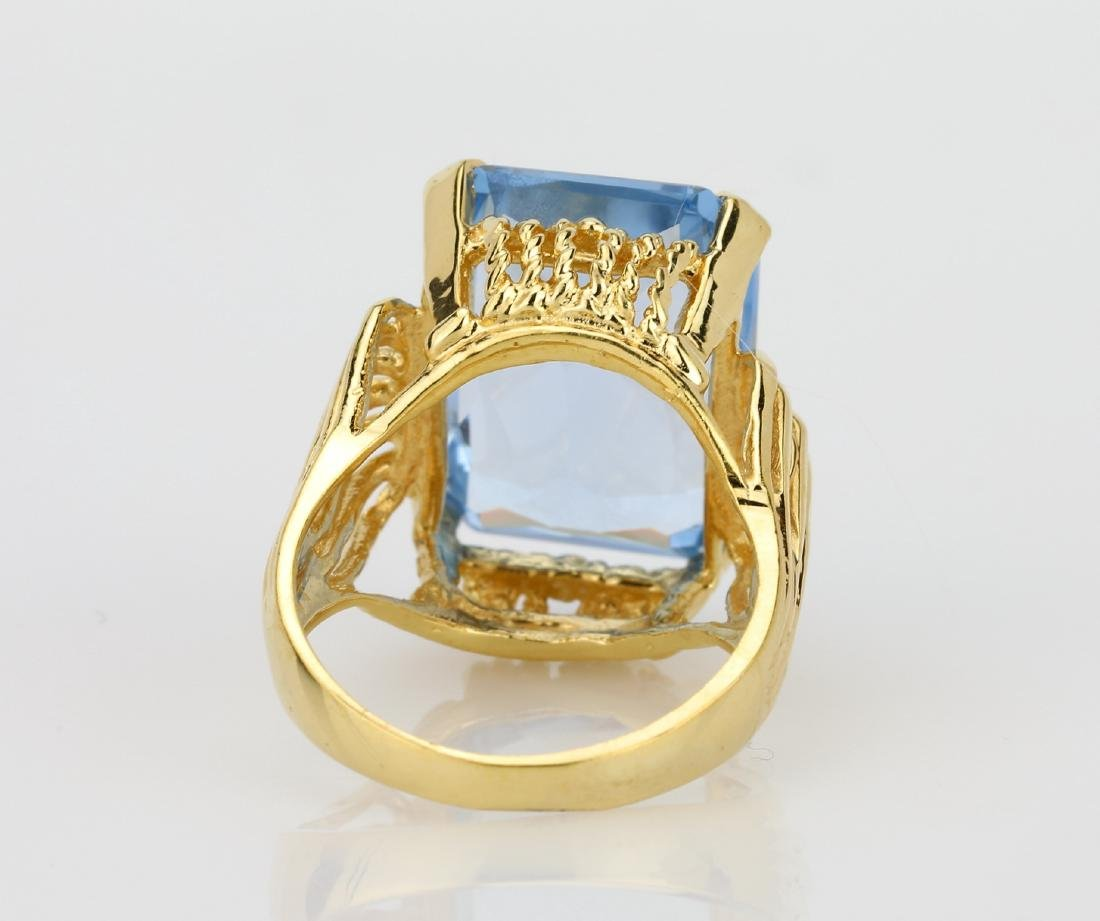 12.00ct Near Flawless Blue Topaz & 14K Ring - 4