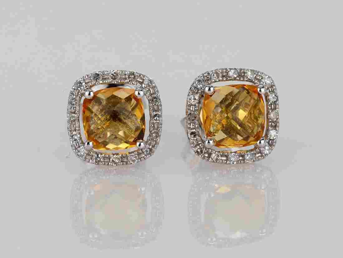 2ctw Imperial Topaz 18K Stud Earrings W/Diamonds
