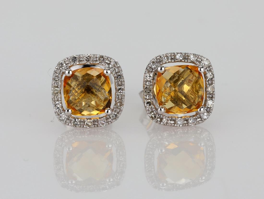 2ctw Imperial Topaz 18K Stud Earrings W/Diamonds