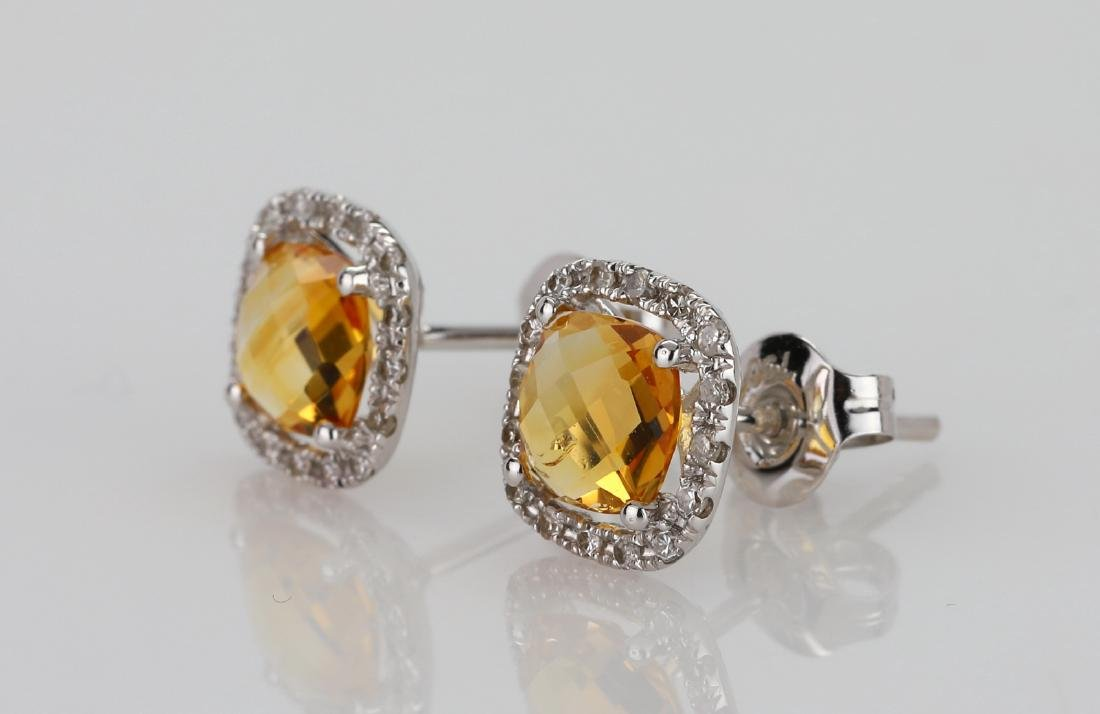 2ctw Imperial Topaz 18K Stud Earrings W/Diamonds - 2