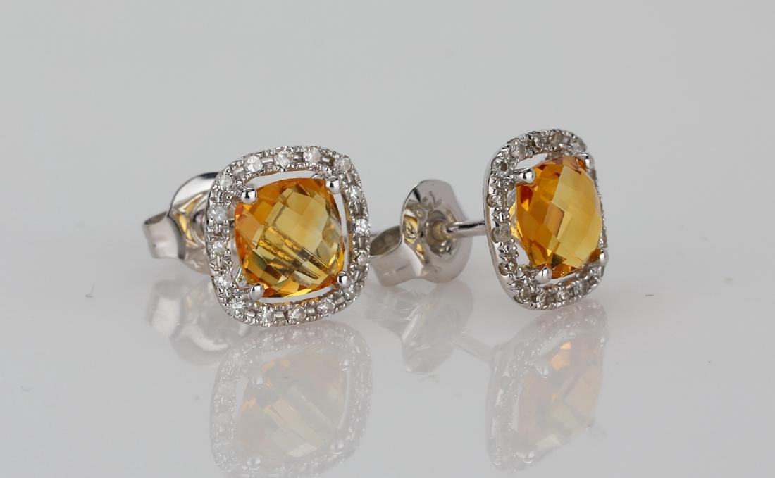 2ctw Imperial Topaz 18K Stud Earrings W/Diamonds - 3