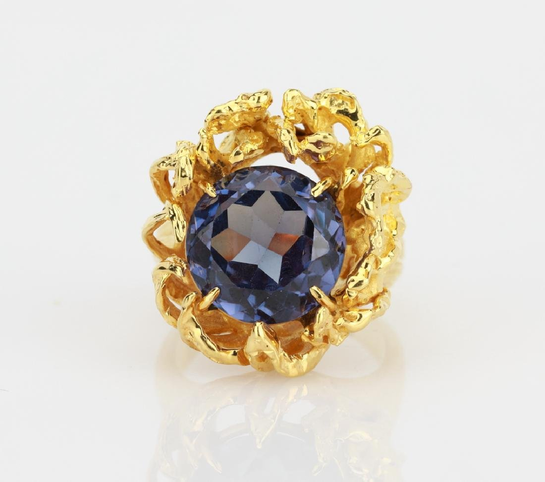 6.25ct Color Change Fluorite 14K Yellow Gold Ring