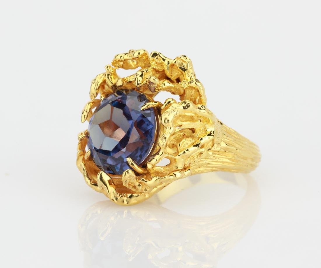6.25ct Color Change Fluorite 14K Yellow Gold Ring - 2