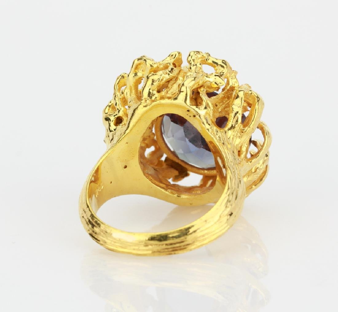 6.25ct Color Change Fluorite 14K Yellow Gold Ring - 4