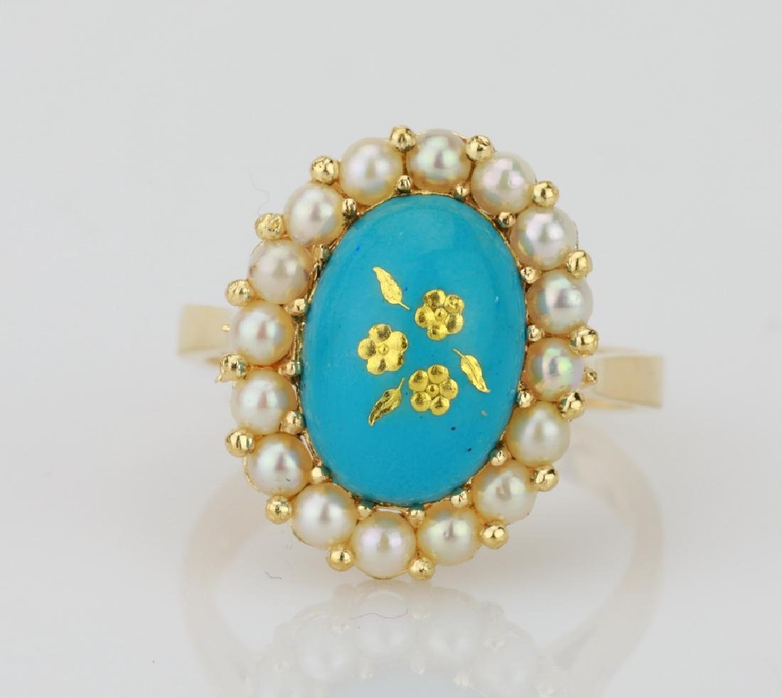 18K & Turquoise Blue Enamel Ring W/Seed Pearls