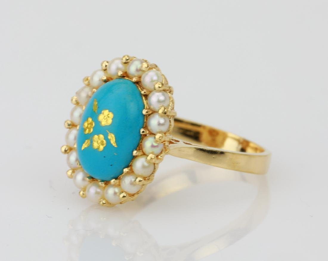18K & Turquoise Blue Enamel Ring W/Seed Pearls - 2