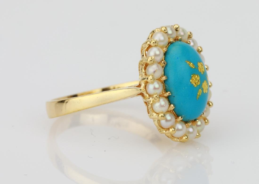 18K & Turquoise Blue Enamel Ring W/Seed Pearls - 3