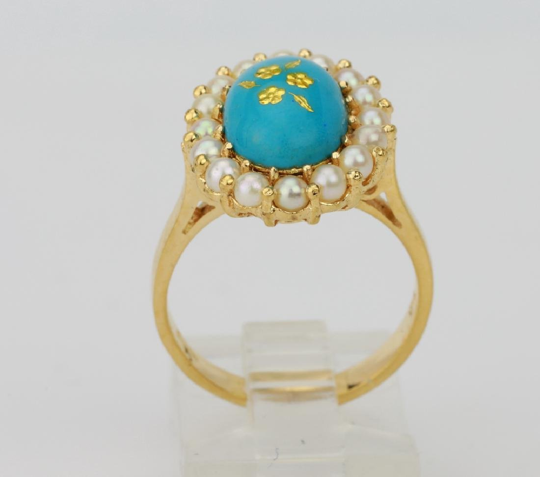 18K & Turquoise Blue Enamel Ring W/Seed Pearls - 4