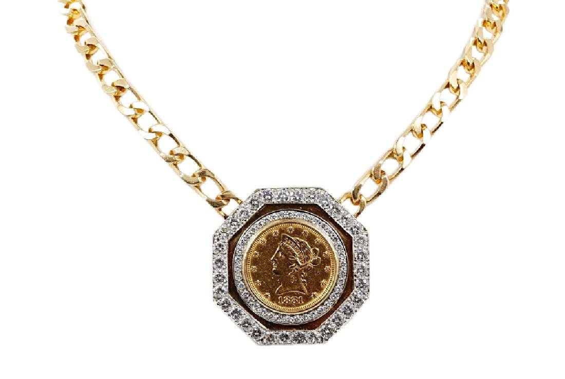 Liberace's Gold Coin, Diamond & 14K Necklace W/COA