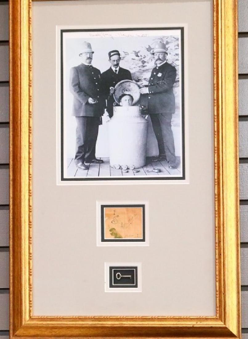 Harry Houdini Skeleton Key Display W/Signatures