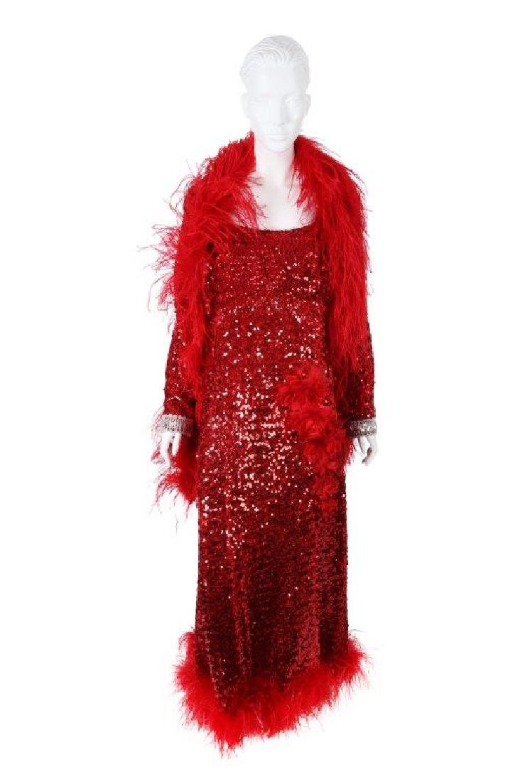 "Octavia Spencer's ""Paradise"" Sequin Gown & Boa"