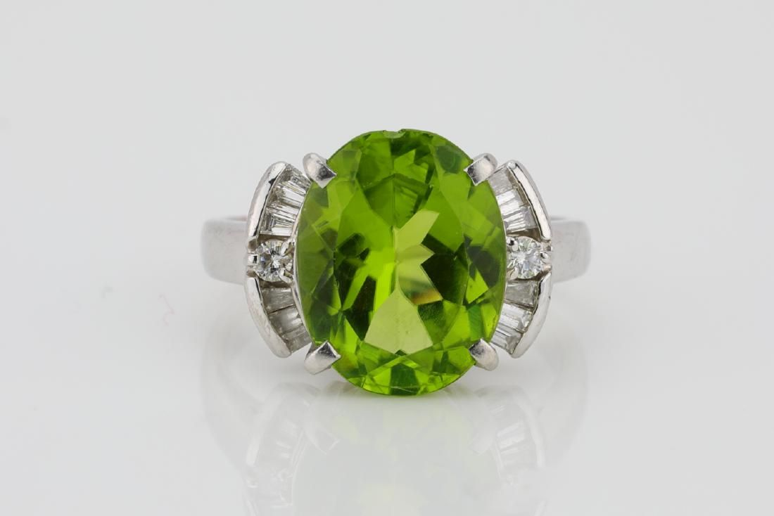 5.15ct Peridot & Platinum Ring W/0.30ctw Diamonds