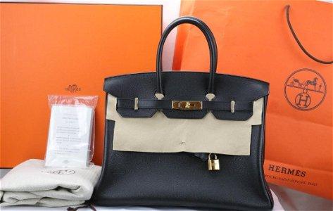 Hermes 35cm Noir Black Togo Leather Birkin *New*