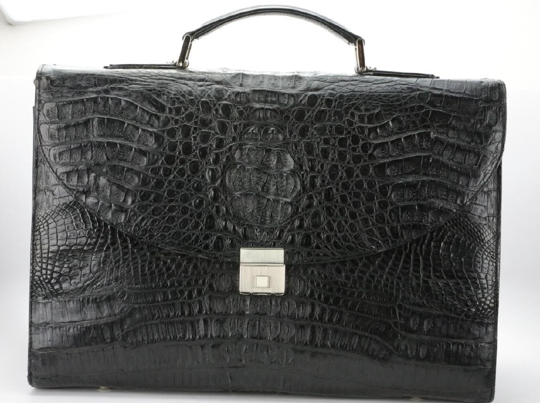 Amiet Black Crocodile Leather Briefcase