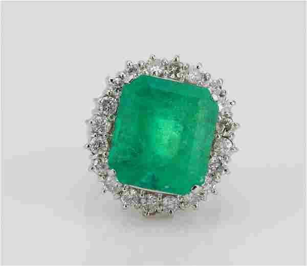 13.25ct GIA Colombian Emerald & Diamond Ring