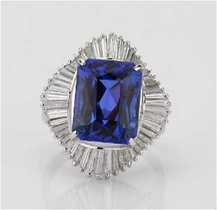 72ct Tanzanite 145ctw Diamond Platinum Ring