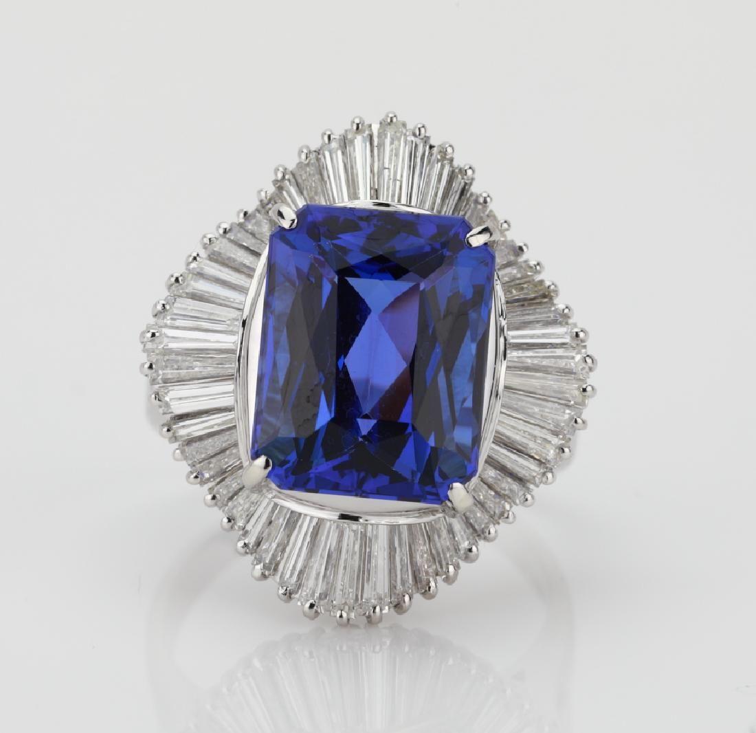 7.2ct Tanzanite, 1.45ctw Diamond & Platinum Ring