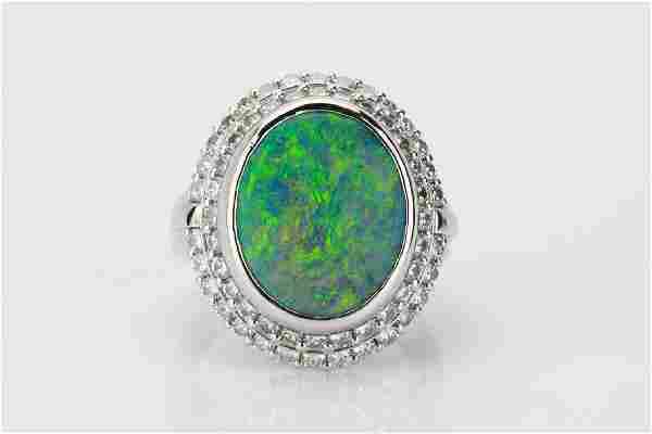 5.1ct Black Opal, 1.4ctw Diamond & Platinum Ring