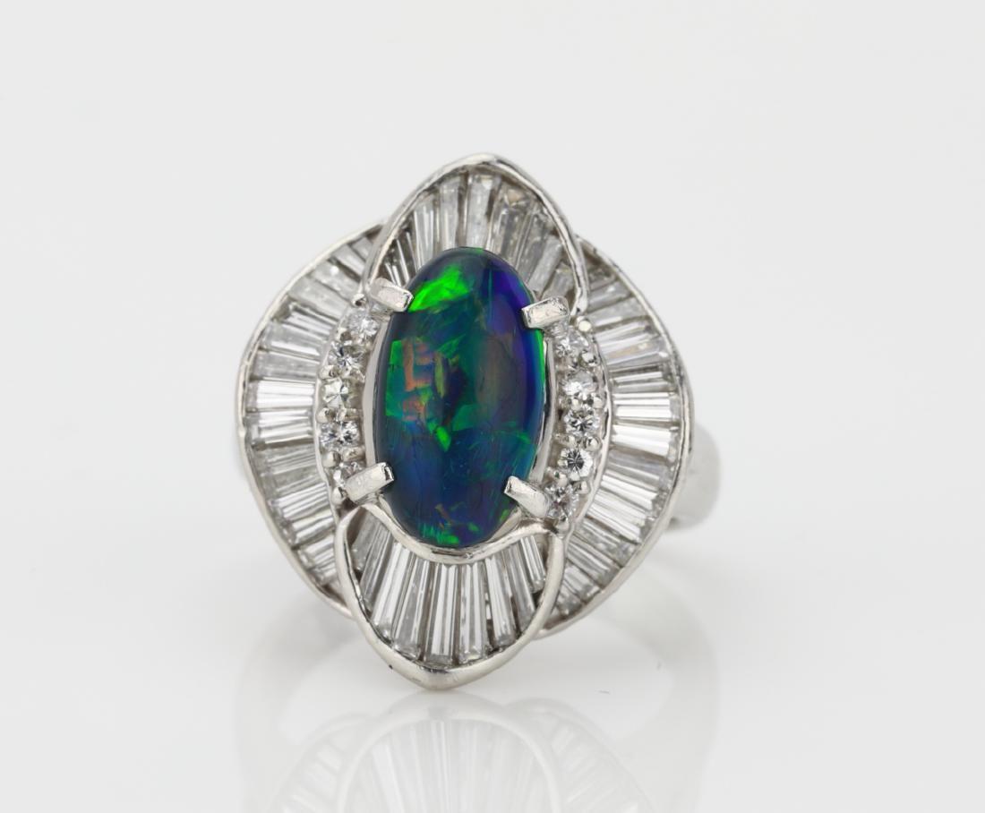 2.25ct Black Opal, 1.4ctw Diamond, Platinum Ring