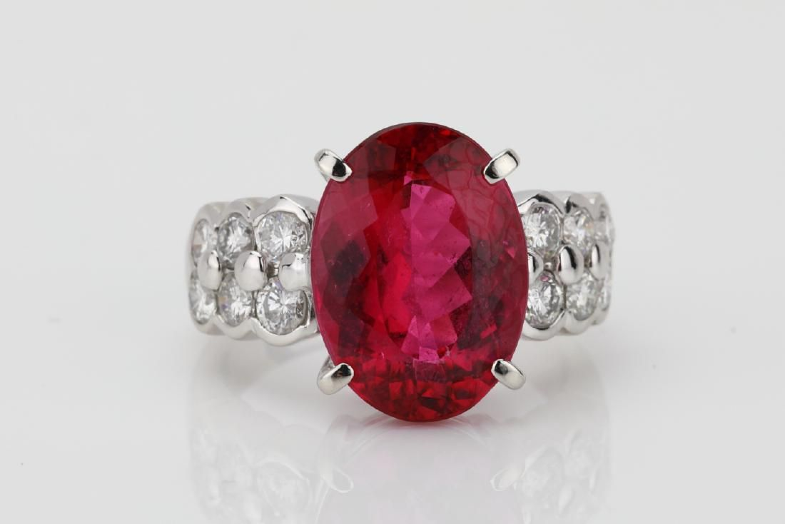 6.8ct Pink Tourmaline, 1ctw Diamond, Plat. Ring