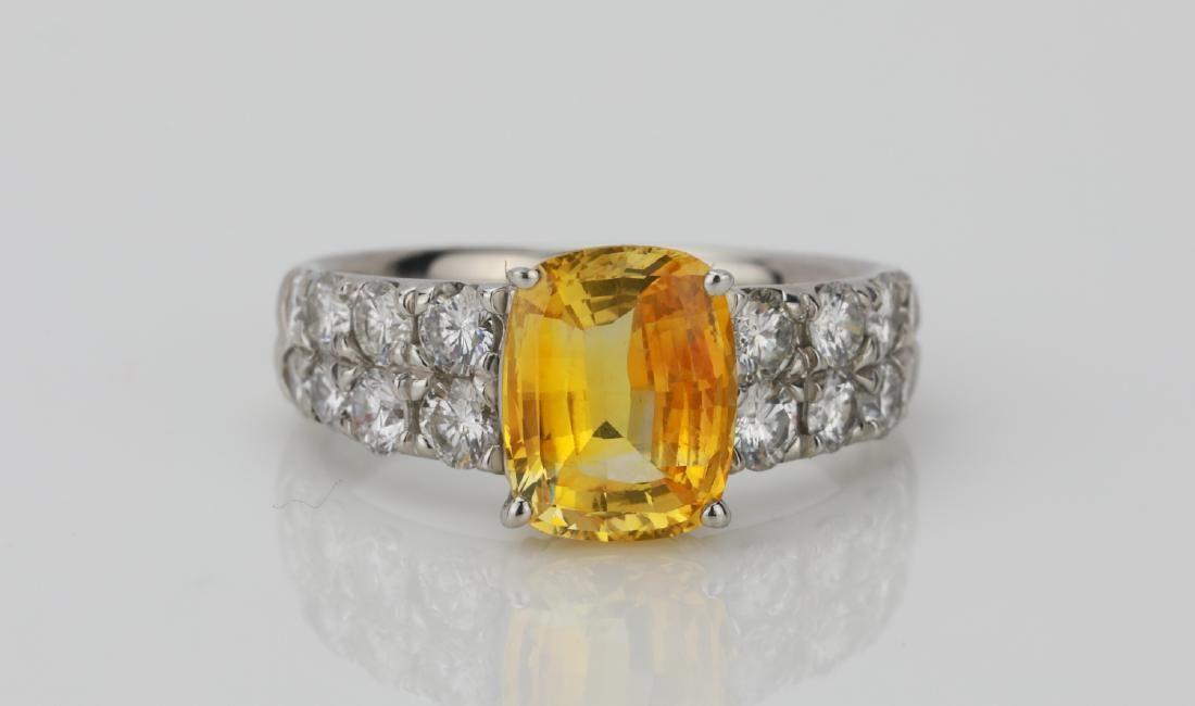 2.90ct GIA Orangy Yellow Sapphire & Diamond Ring