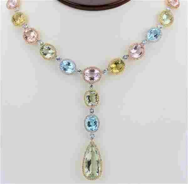 House of Taylor Gemstone, Diamond & 18K Necklace