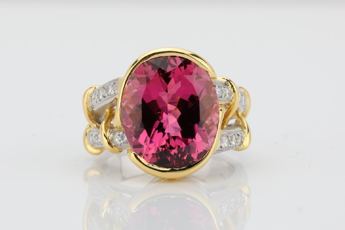 8.90ct Pink Tourmaline, Platinum & 18K Ring
