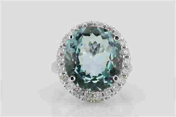 14ct Blue Topaz, 1.55ctw Diamond & 14K Ring