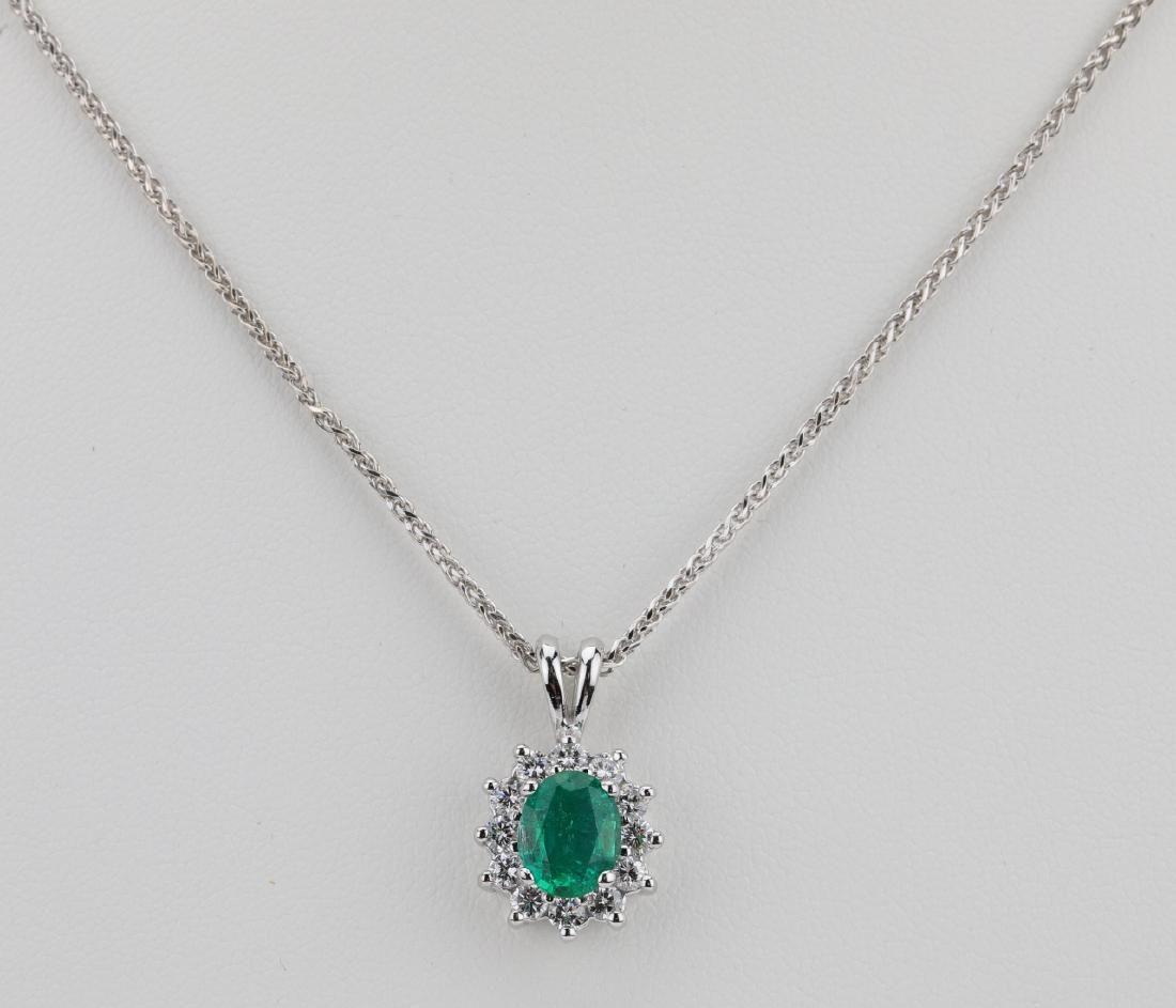 1.55ct Zambian Emerald, Diamond & 14K Necklace