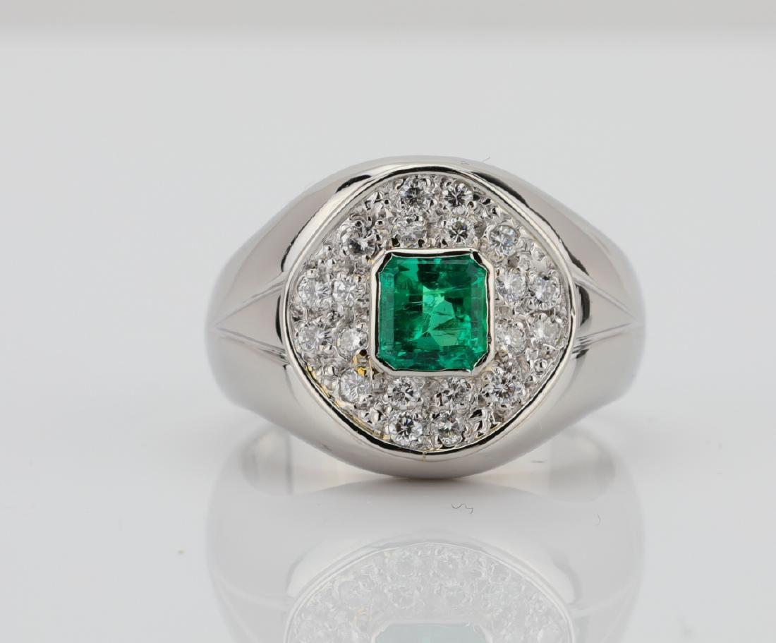 Platinum & 0.92ct Emerald Ring W/VS Diamonds