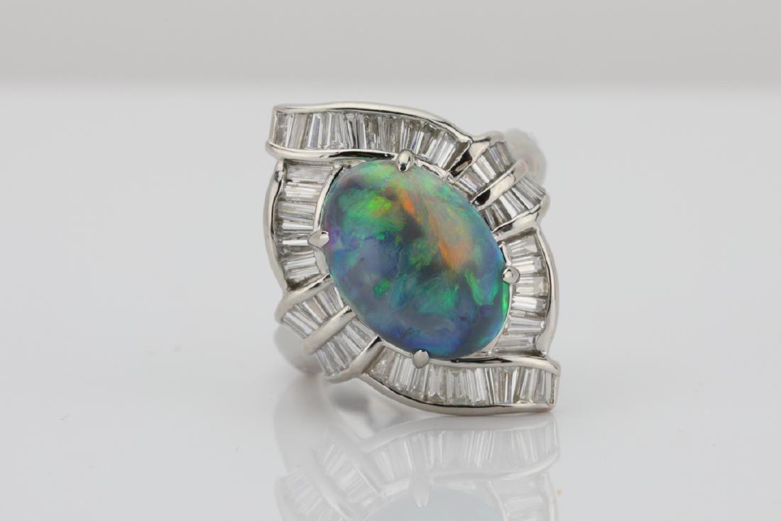 3.25ct Opal, 1.25ctw Diamond & Platinum Ring