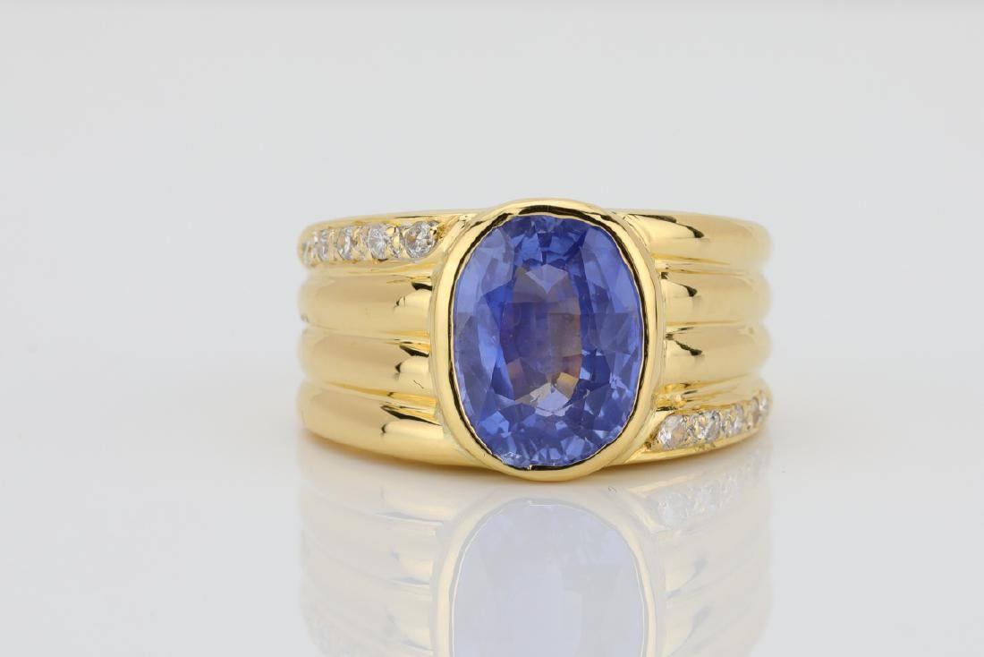4.30ct Blue Sapphire & 18K Ring W/Diamonds