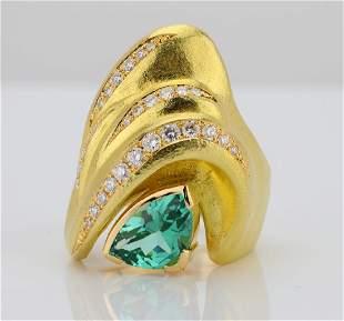 250ct Green Tourmaline 18K Ring WDiamonds