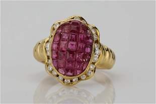 405ctw Ruby 045ctw Diamond 18K Ring