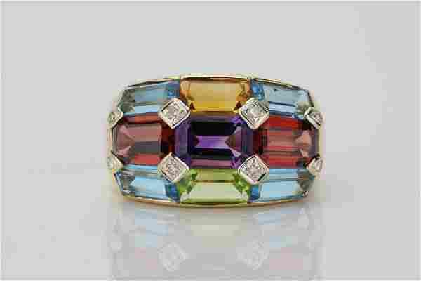 7.35ctw Multi-Gemstone & 18K Ring W/Diamonds