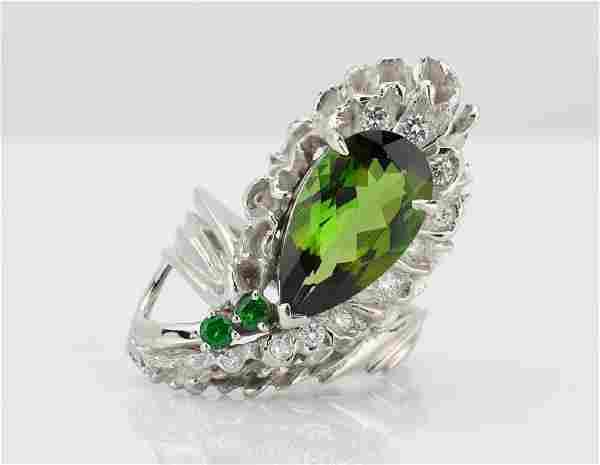4.35ct Green Tourmaline, Diamond & Platinum Ring