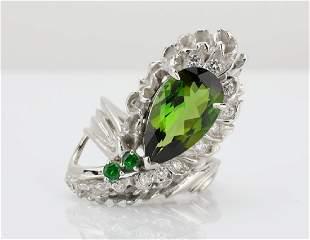 435ct Green Tourmaline Diamond Platinum Ring