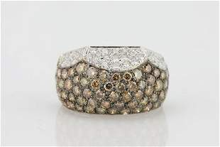 450ctw VS1VS2 Cognac White Diamond 18K Ring