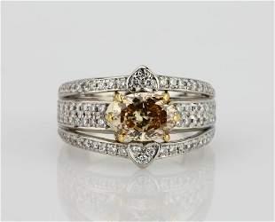215ctw Champagne White Diamond Platinum18K Ring