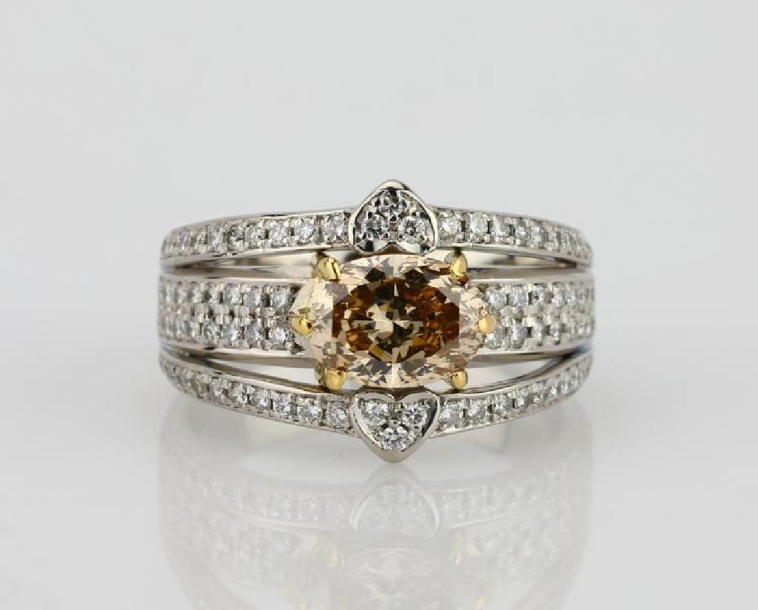 2.15ctw Champagne & White Diamond Platinum/18K Ring