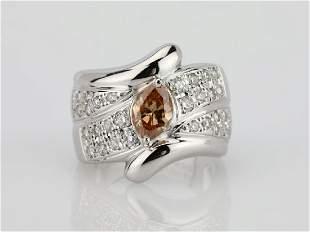 120ctw Orangy Brown White Diamond 18K Ring