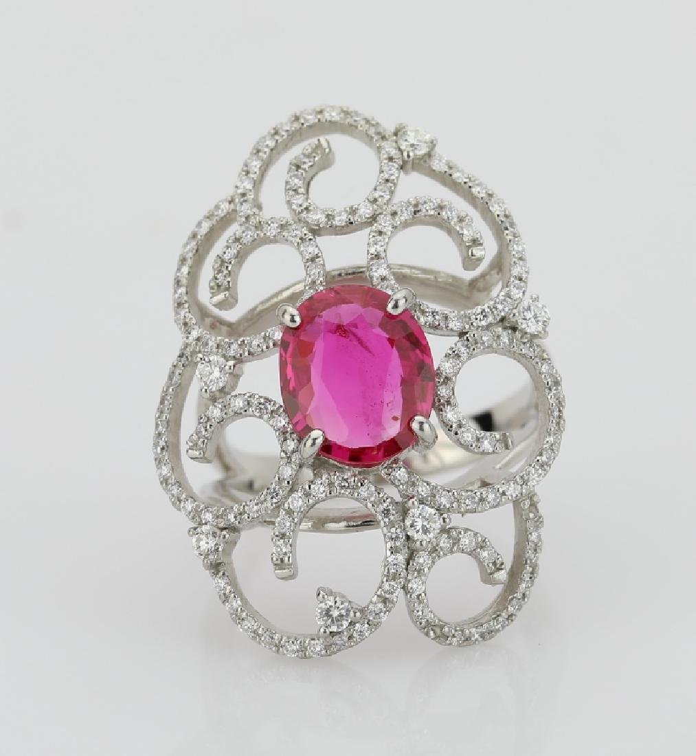 2.10ct Ruby, 0.70ctw Diamond & Platinum Ring