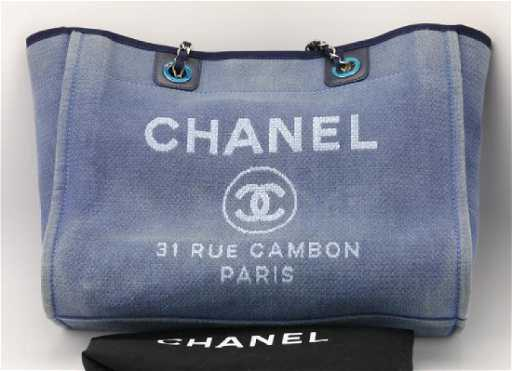 9dc8f790acbf Chanel Navy Canvas Deauville Small Tote Bag