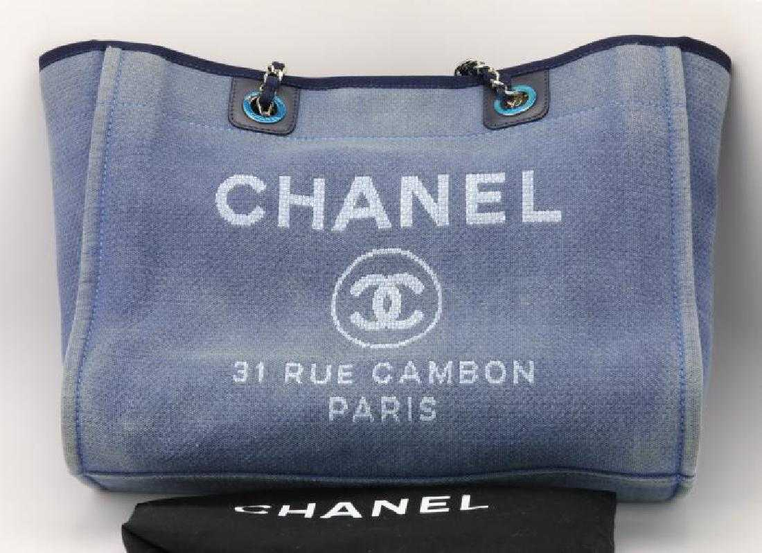 7cb73dae3b89 Chanel Navy Canvas Deauville Small Tote Bag